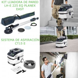 KIT LIJADORA DE PARED LHE EASY + FESTOOL SISTEMA DE ASPIRACIÓN CT 15 E CLEANTEC