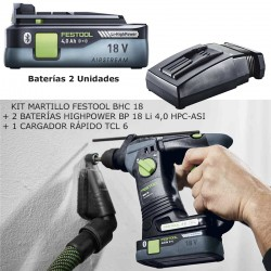 KIT FESTOOL MARTILLO BHC + 2 BATERÍAS HIGHPOWER BP 18 Li 4,0 HPC-ASI + CARGADOR RÁPIDO TCL 6