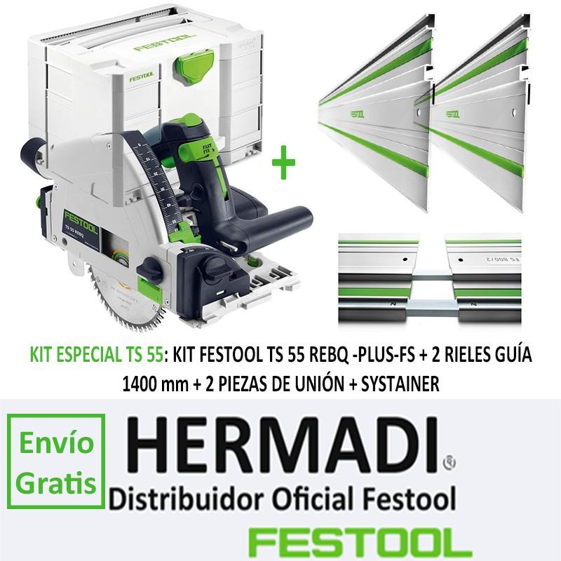 KIT FESTOOL TS 55 REBQ/PLUS FS + 2º RIEL GUÍA 1400 mm + 2 PIEZAS DE UNIÓN