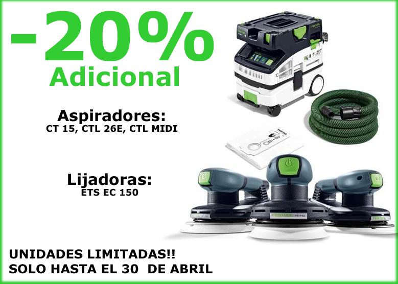 PROMOCIÓN ASPIRADORES CT15, CTL MIDI, CTL26E, 20% DE DESCUENTO